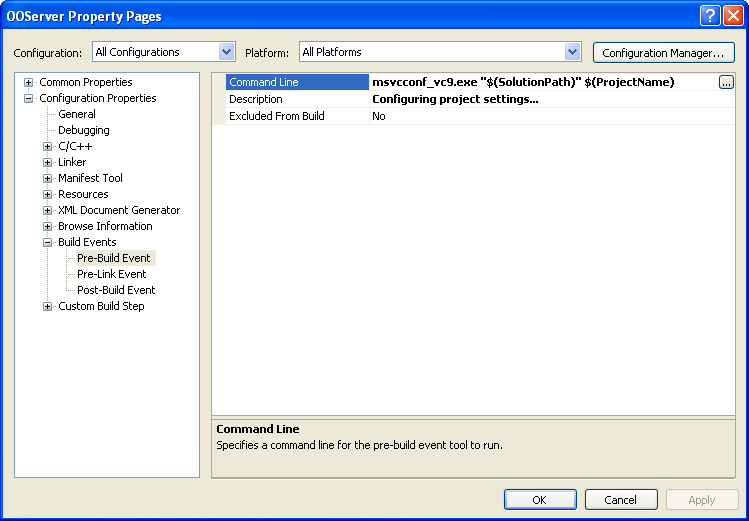 Picture of Visual C++ Project options page